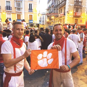 Spain Todd Fernley '09 and Joe Colduvell III '09 summon some Clemson spirit for courage at the Running of the Bulls in Pamplona.