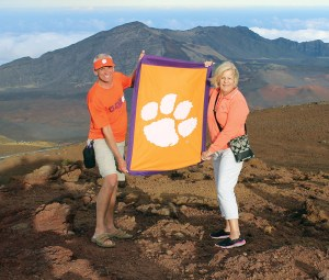 Hawaii *Bob '78 and *Lee Anne Sattazahn celebrated Clemson's championship victory at the top of Mt. Haleakala in Maui on Jan. 10.