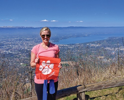 Margaret Hearon '09 took her Tiger Rag to Mont Saleve in Geneva, Switzerland, in April. She was in Switzerland for a global nonwovens trade show.
