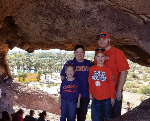 Jessie '03, Chris '03, Parker and Catherine Kelly visited Hole in the Rock in Phoenix, Arizona, prior to Clemson shutting out Ohio State in the Fiesta Bowl.