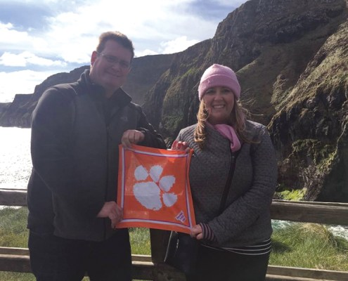 Brad French '98 and Lindsey Marriott '05 show they're all in, even when across the Atlantic Ocean.