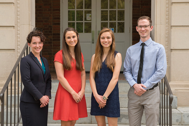 This year's crop of NSF Graduate Research Fellows included (from left) Jacqueline Rohde, Lauren Pruett, Lauren Gambill and John Sherwood. Not pictured are Sarah Donaher, Kylie Gomes, Shyla Kupis and Brandt Ruszkiewicz.