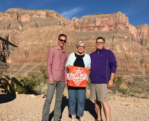 Galen DeHay '97, M '99, Melissa Cooper and Daniel Cooper '84, honorary Ph.D. '07 on the floor of the Grand Canyon.