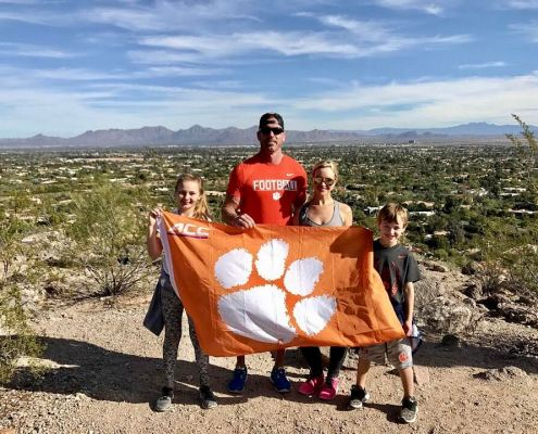 Jason Flanders '01, former Clemson football player, traveled to Arizona for the Fiesta Bowl with his wife Christen and Tiger cubs Madison and Robby. The family ventured up Camelback Mountain on the trip.