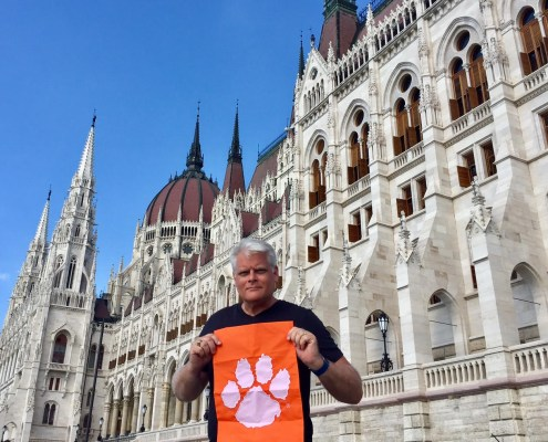 Steve Matonak '83 in front of the Hungarian Parliament Building in Budapest, Hungary.