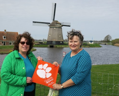 Sandy Erskine Morgan '74 and Kathy Davis '75 brought their Tiger Rag on their vacation to the Netherlands in April 2017.