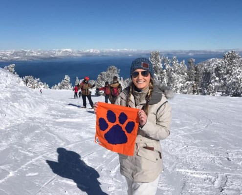 California: Virginia Dillard '18 on the slopes surrounding Lake Tahoe, which sits on the border of California and Nevada.