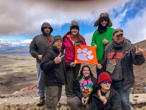 Ecuador: Alex McBryde, Shawn Williamson, Rebecca Williamson '12, Katelyn Ausborn, Amy Blackwell, Aidan Smith and Mark Smith hiked 15,953 feet to the Jose F. Rivas refuge at the Cotopaxi volcano in Ecuador during a mission trip.