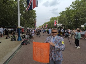 "England: Todd Hayden '84 participated in the Brompton World Championship bicycle race with his son: ""[The race is] in commuter business attire on folding bikes, handmade in London, with a Le Mans style start."""
