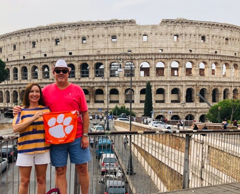 Italy: Al Johnson '87 and his wife, Karla, visited the historic Colosseum in Rome.