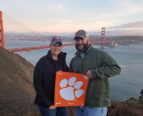 California: Laura Kline '08, M '10 and Jason Fulmer '09, both civil engineering graduates who work in road and bridge construction, visited the Golden Gate Bridge in San Francisco on their first trip to California.