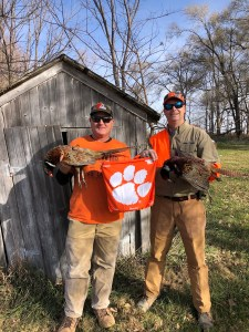 """Iowa: George McCutchen '94, right, traveled to Iowa to hunt pheasants with his friend Jason Webb, """"who operates a large trucking company all over the U.S. from Des Moines — educating all of Iowa on the reach and pride of Clemson!"""""""