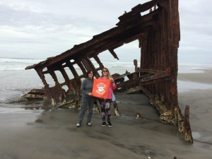 """Oregon: Lindsey Woods '09, M '11 traveled to Oregon to visit her friend and former architecture professor Annemarie Jacques '76, M '81, where they explored Fort Stevens State Park, including the Peter Iredale Shipwreck. """"We had a ball!"""" Woods wrote."""