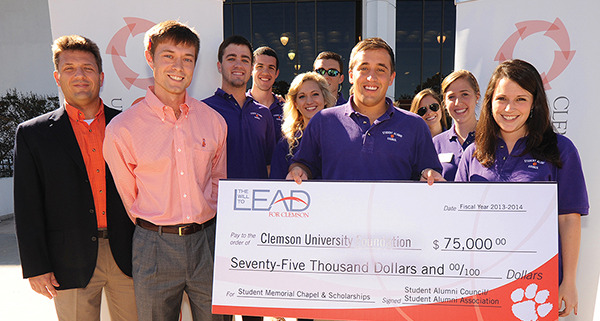 As part of the inaugural Week of Gratitude held on campus in October, the Student Alumni Council presented a $75,000 check to benefit the Student Alumni Council Scholarship Endowment Fund and the Student Memorial Chapel.