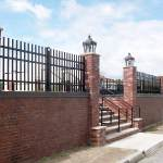 Ornamental Metal Fence on top of brick