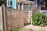 Cedar Board Fence with thin cap & pergola in Stoneham MA
