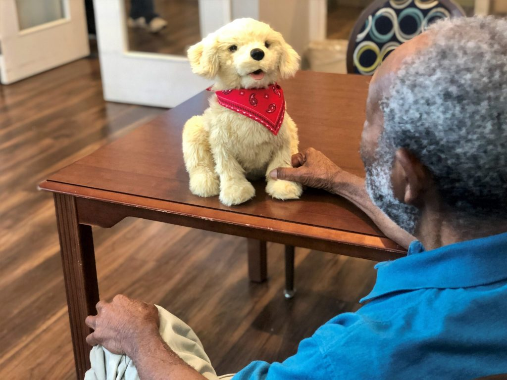 Residents enjoy interacting with robotic companion pets and therapy animals at Cleveland House