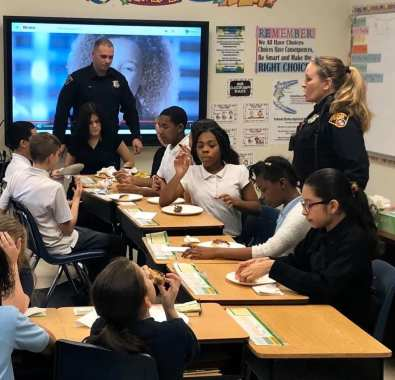 The Cleveland Police Foundation and Cops for Kids brought pizza to Westside Community School of the Arts to thank the kids for donating canned foods to our charities that feed the poor during the holiday season.
