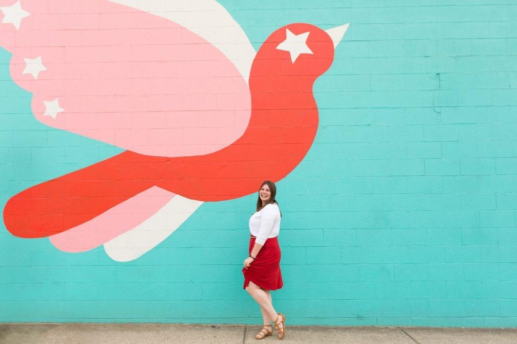 Amanda at flying tiger mural