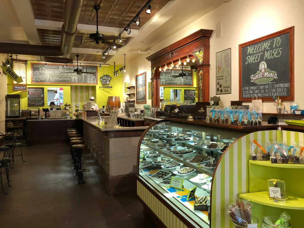 Inside Sweet Moses soda fountain and treat shop