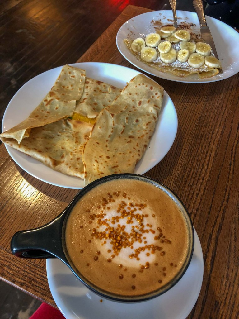 Coffee and crepes at Brewella's