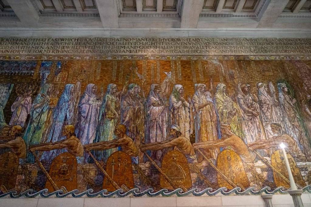 Mosaic wall at Wade Memorial Chapel