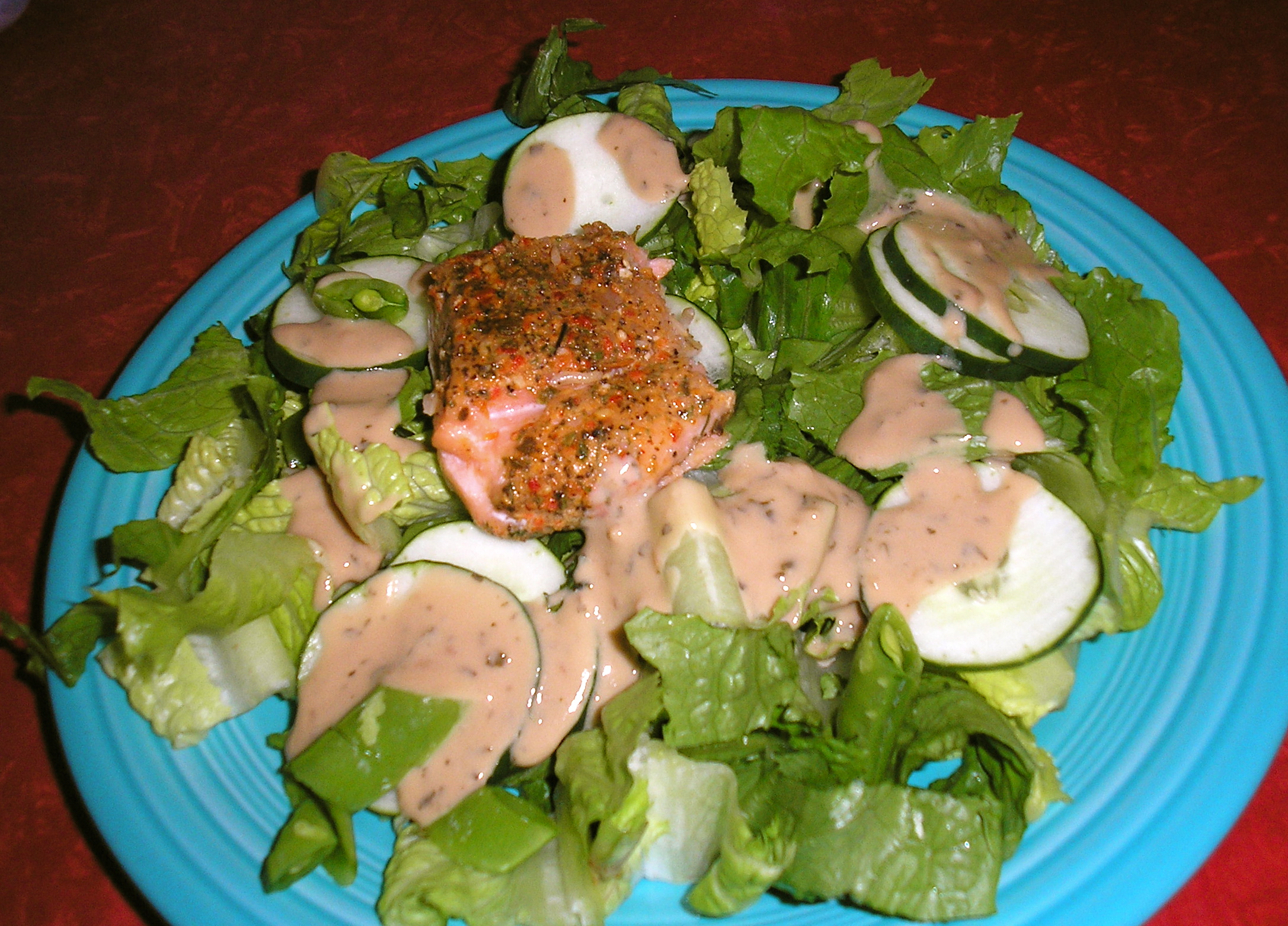 Green Salad with (leftover) Salmon