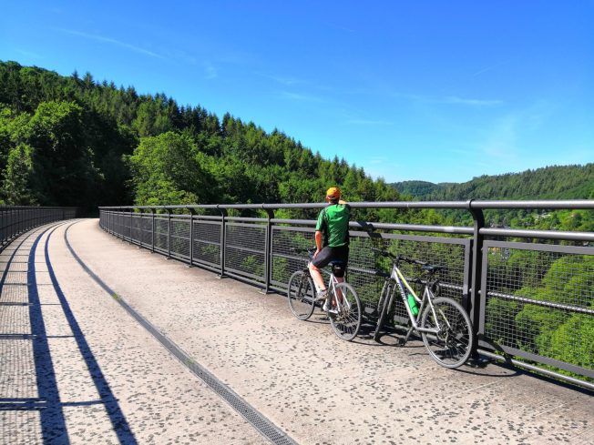 Tolles Panorama von der Brücke aus: Maare-Mosel-Radweg