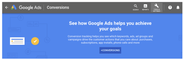 google ads conversion example screenshot