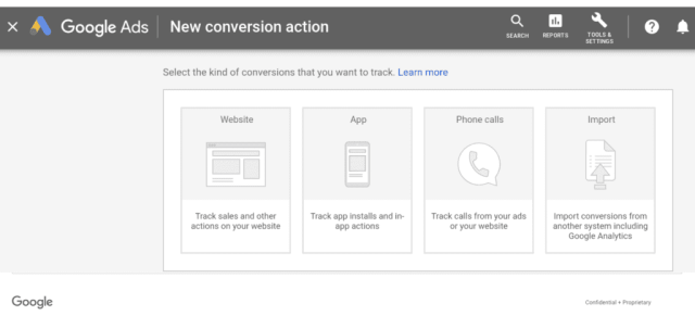new google ads conversion action