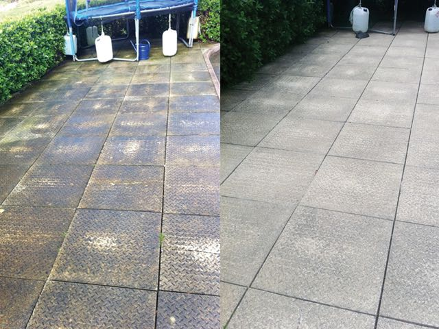 Patio, before and after cleaning