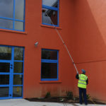 Exterior upper window cleaning using our clever pole system