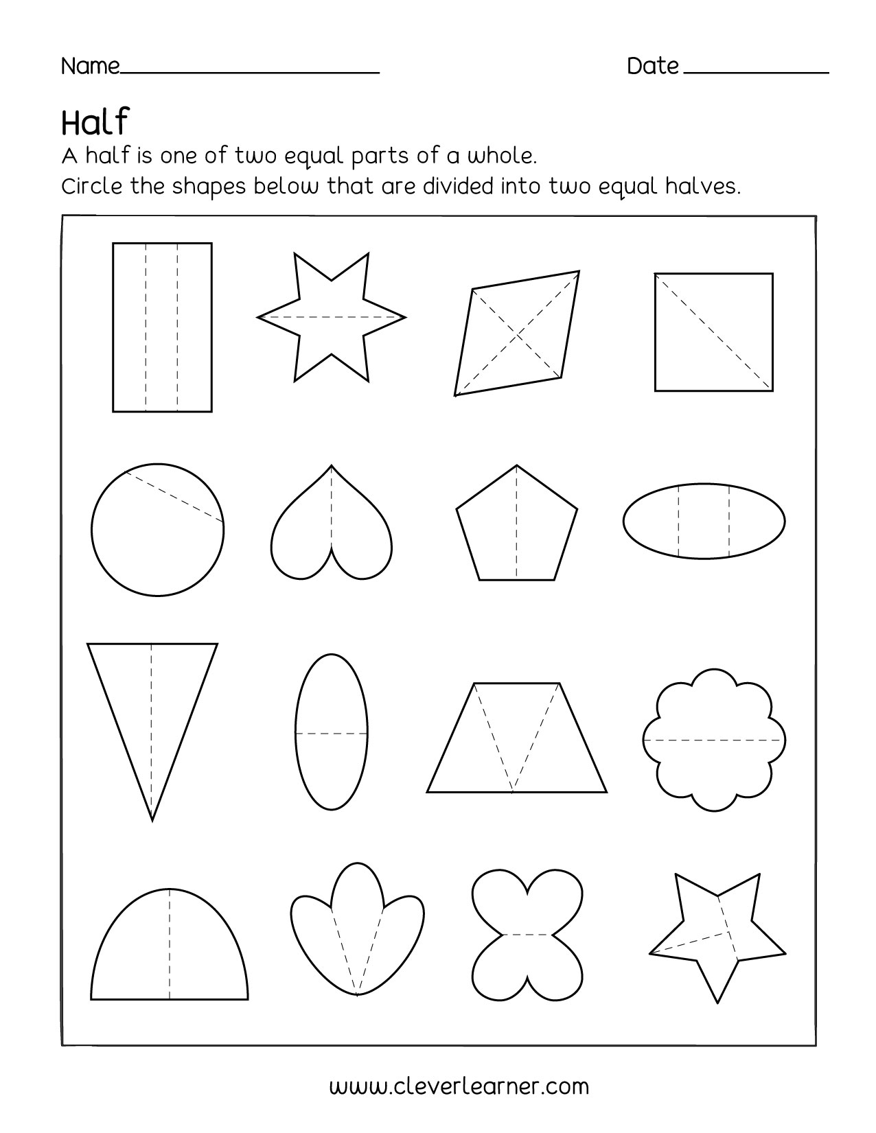 Half And Whole Fraction Worksheet