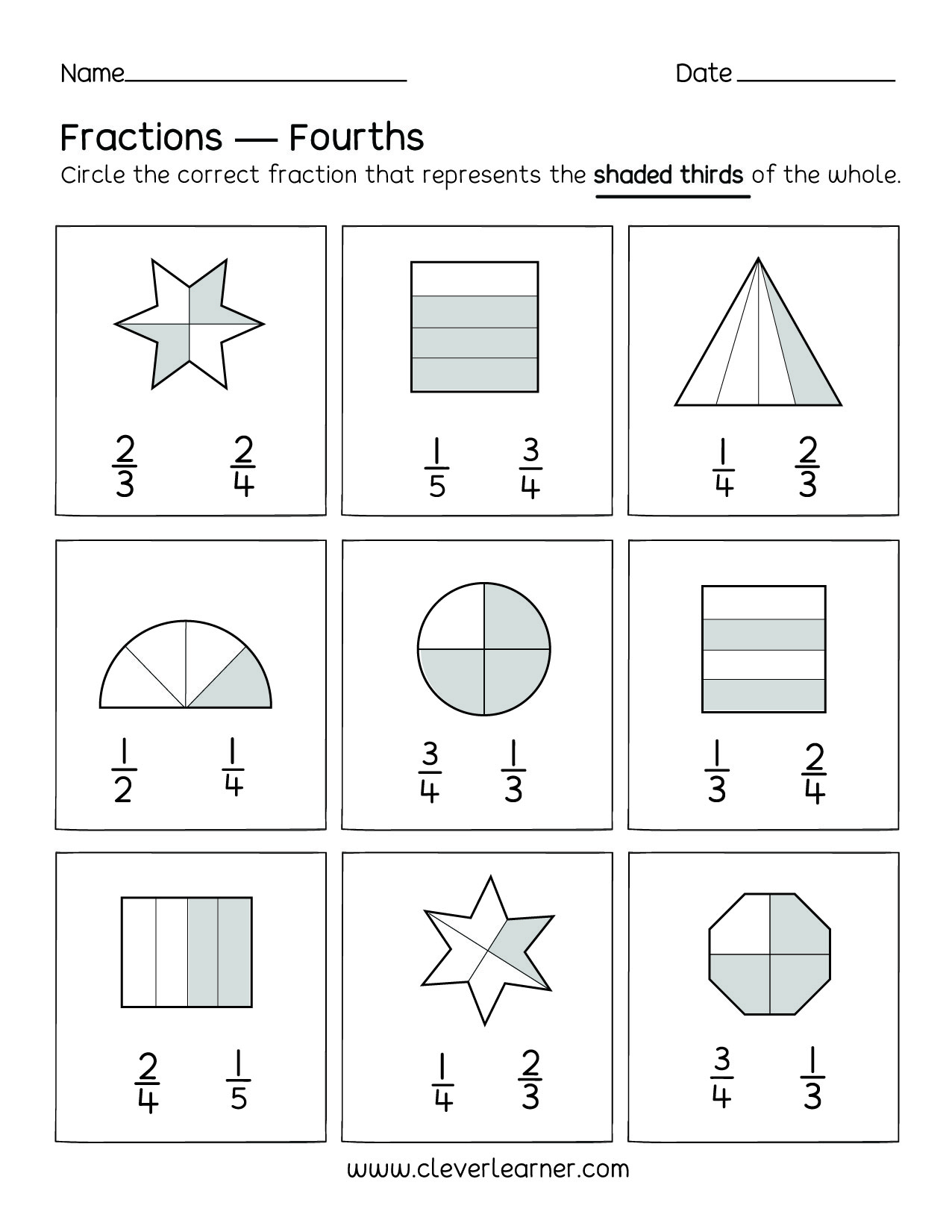 Fun Activity On Fractions Fourths Worksheets For Children