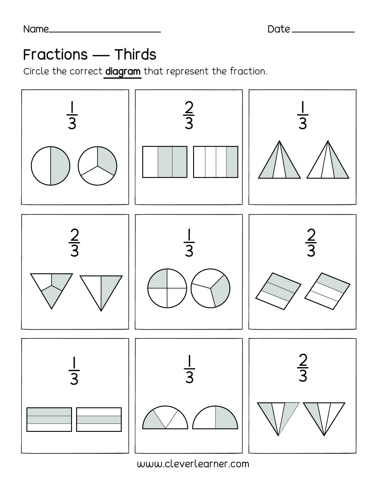 Drawing Fractions Worksheets