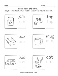 Three Letter Words Tracing And Writing