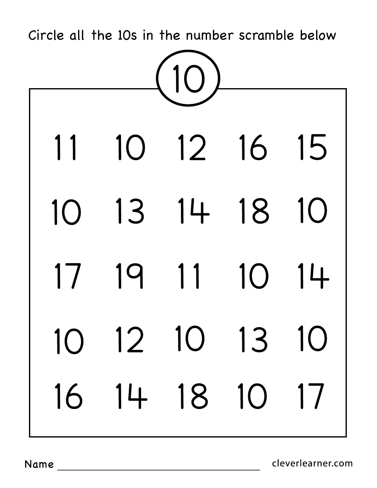 Number Ten Writing Counting And Identification Printable Worksheets For Children