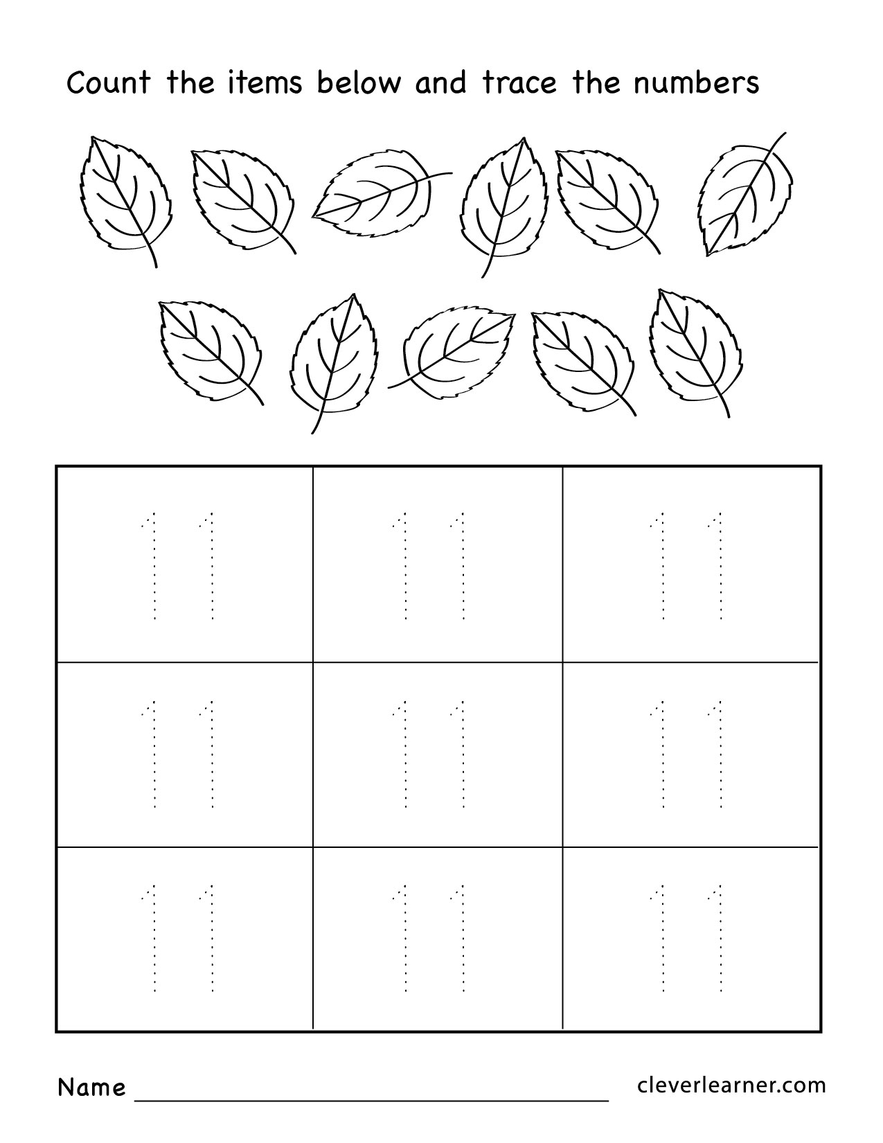 Pre Kindergarden Number 11 Worksheet