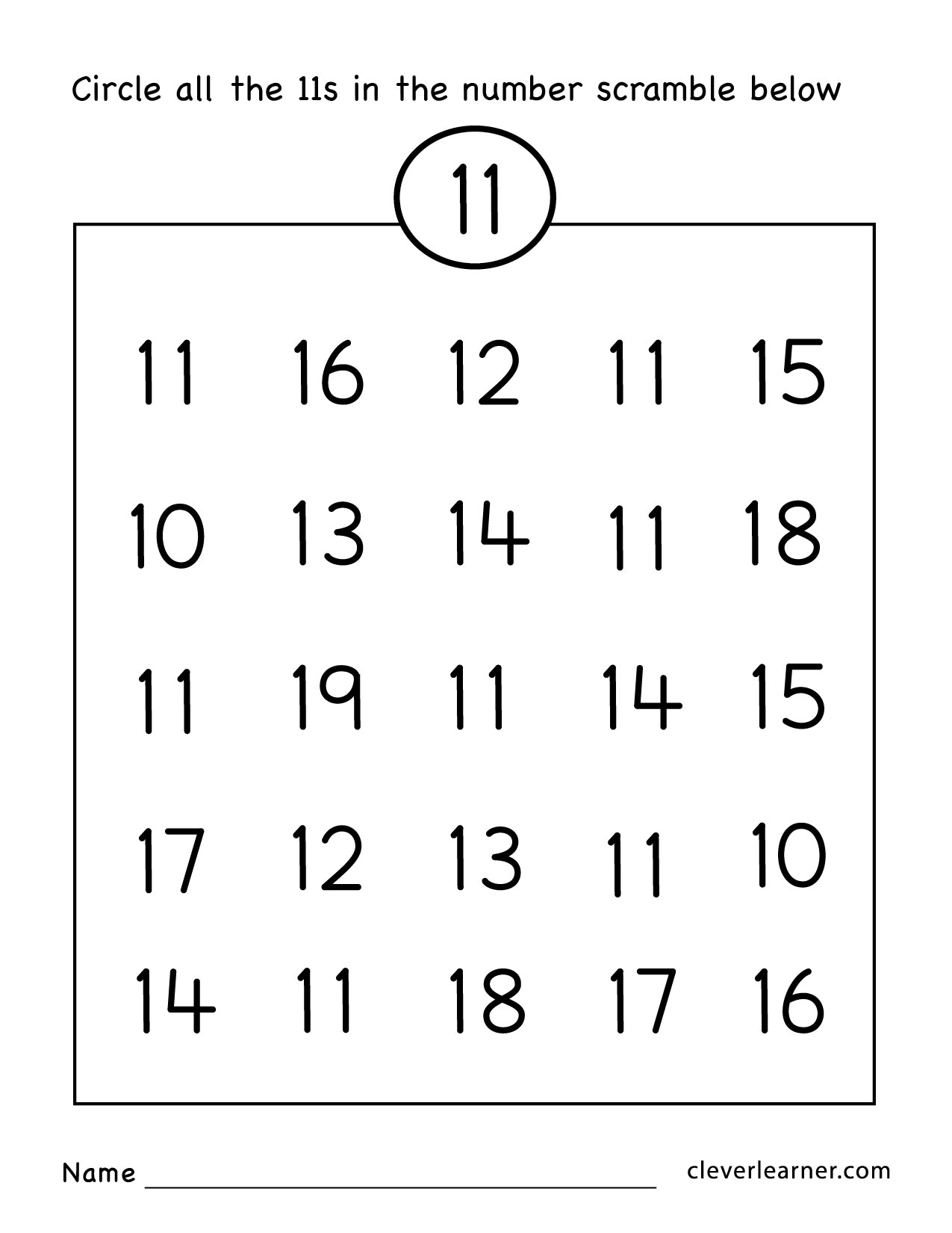 Number Eleven Writing Counting And Identification Printable Worksheets For Children