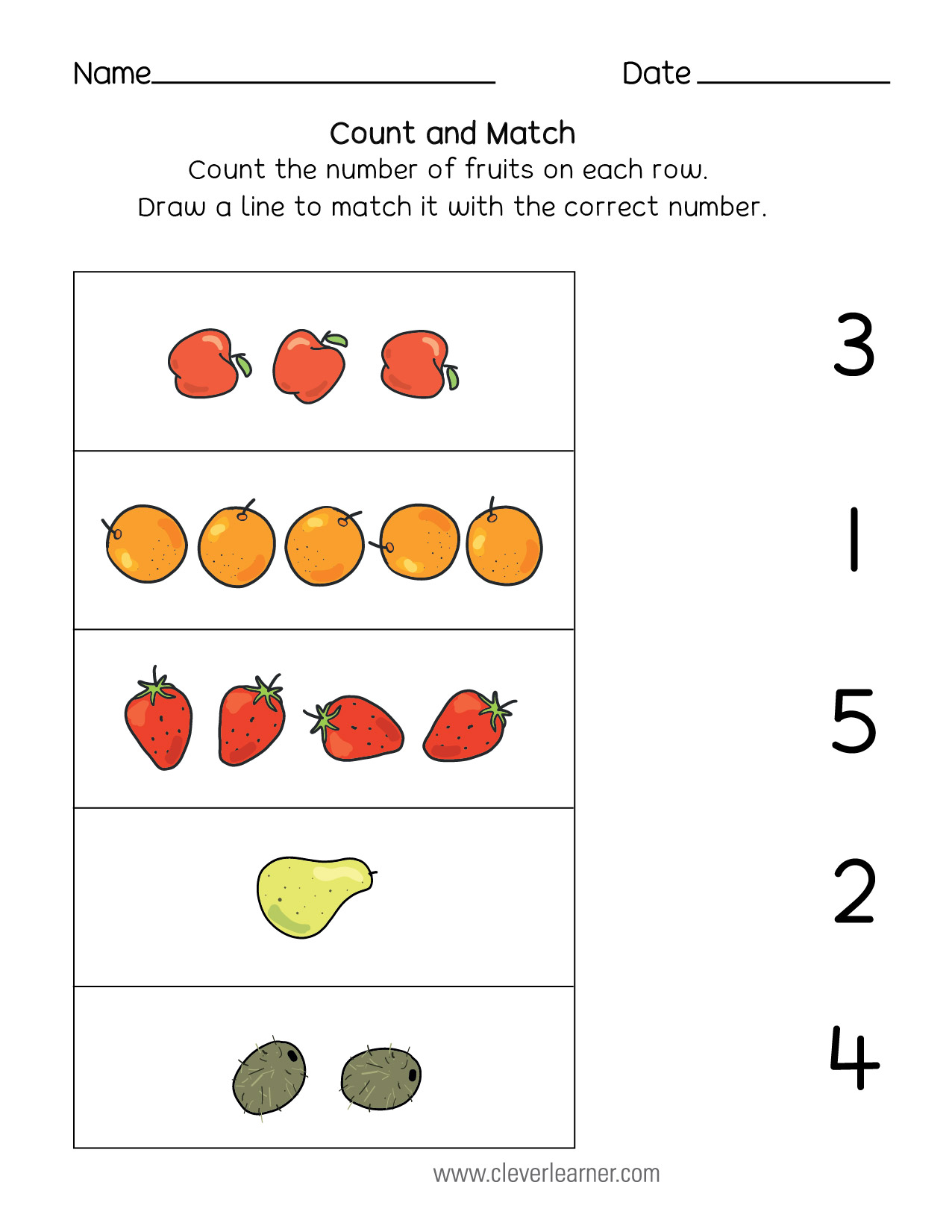 Common Core Worksheet Number Matching