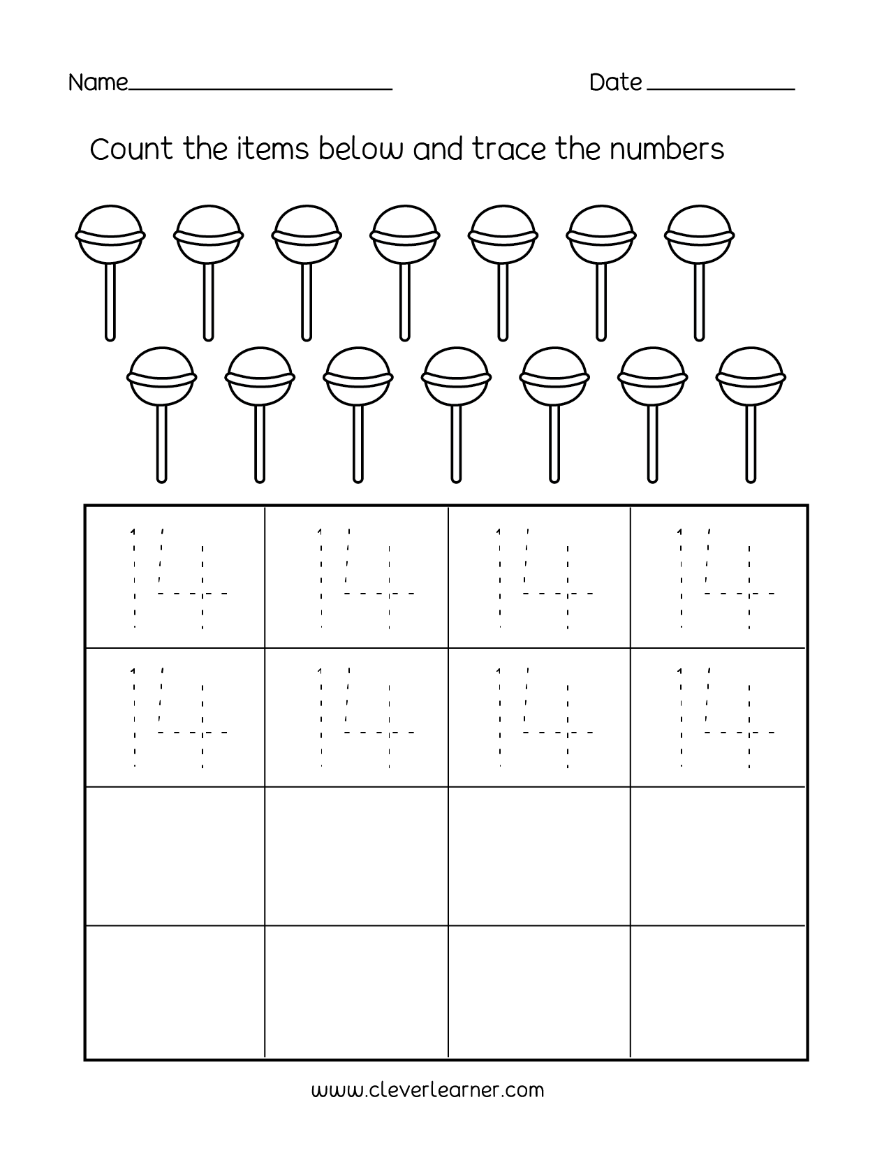 Number 14 Writing Counting And Identification Printable