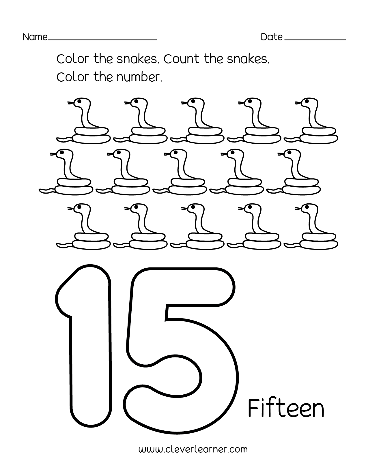 Number 15 Writing Counting And Identification Printable Worksheets For Children