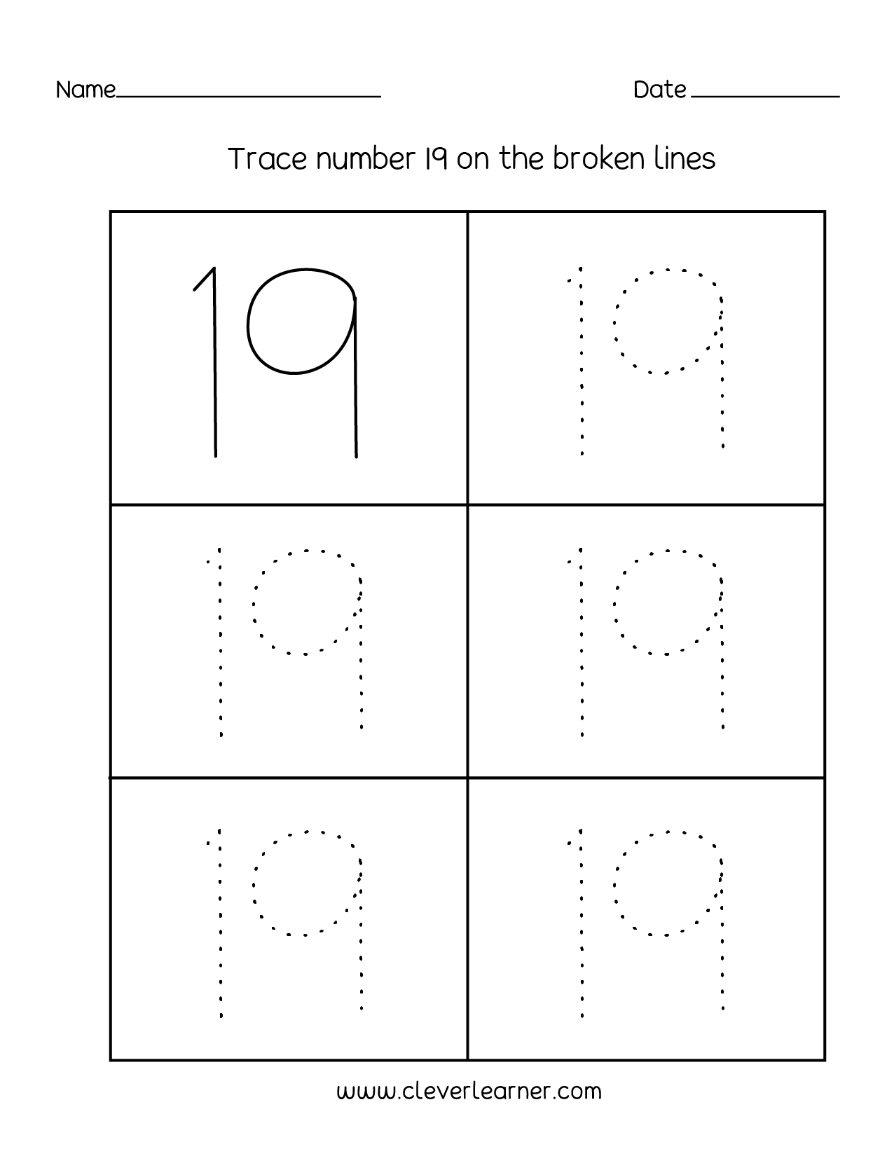 Number 19 Writing Counting And Identification Printable Worksheets For Children