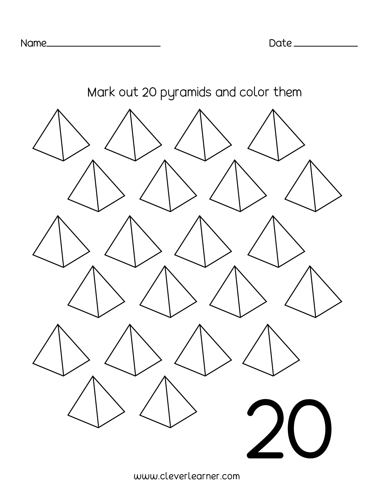 Number 20 Writing Counting And Identification Printable