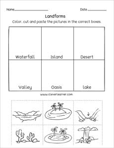 Landforms Printables And Worksheets For Kindergarten And