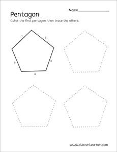 Pentagon Shape Activity Sheets For Preschool Children