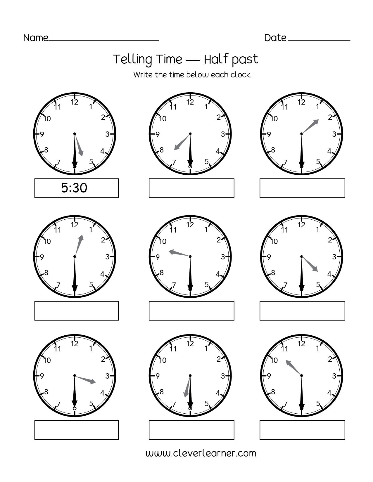 Telling Time To Half Hour