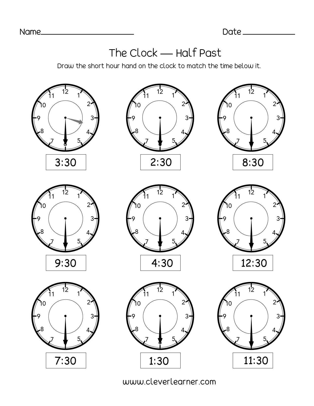 Time Worksheets 1st Grade