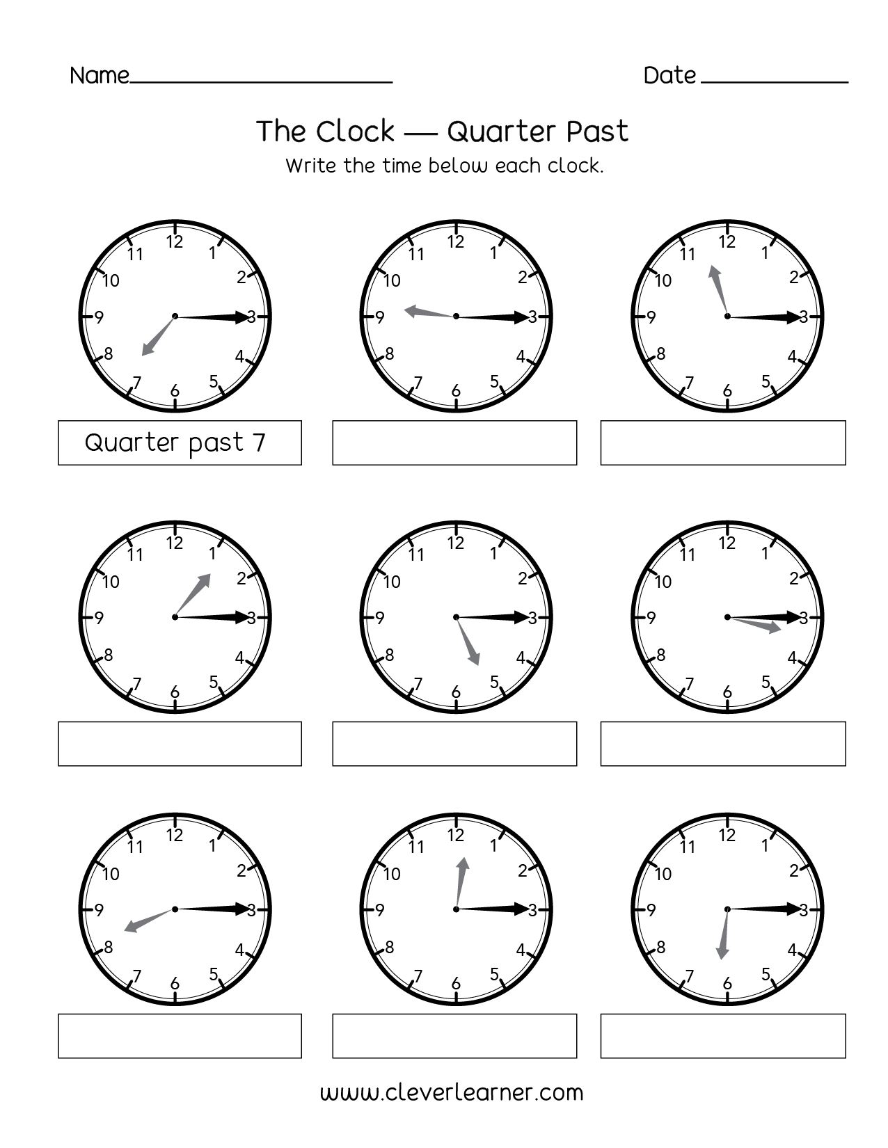 Printables Of Quarter To Time Worksheets