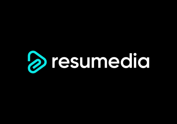 Paper clip with a play button. Resumedia logo by Deividas Bielskis